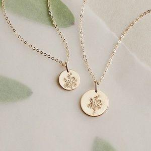 Aster September Birth Flower Charm Gift Necklace